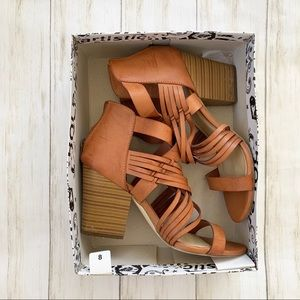 "Cognac ""Jemma"" Strappy Wedge Heels"